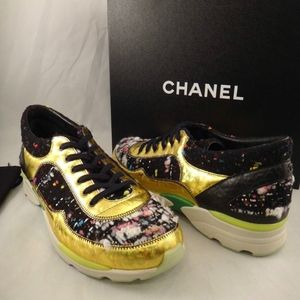 183088eaaea77 CHANEL Shoes - Chanel 14K Black Gold CC Tweed Leather Trainer